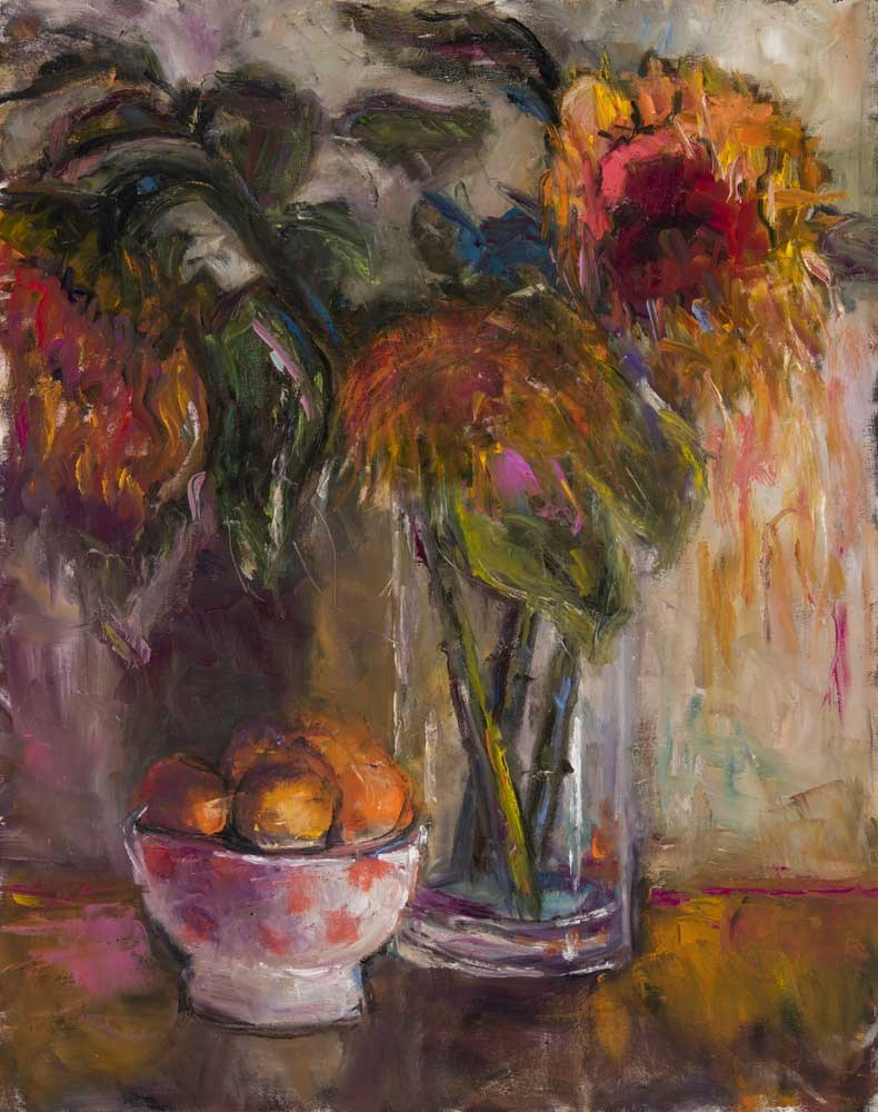 """Sunflowers and Lemons"" original fine art by pepa sand"