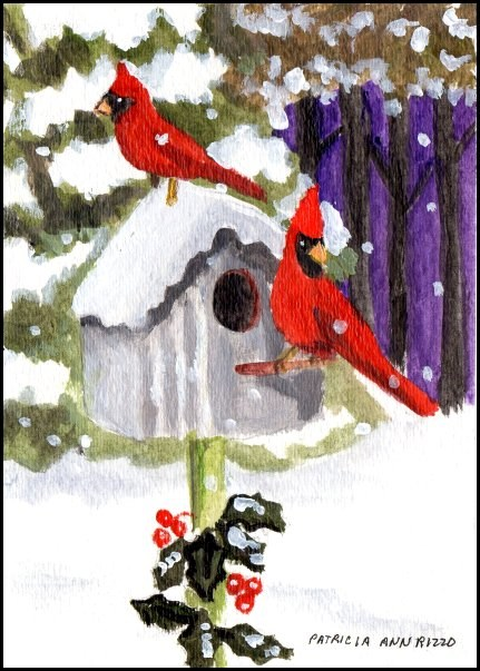 """Cardinals at Home"" original fine art by Patricia Ann Rizzo"