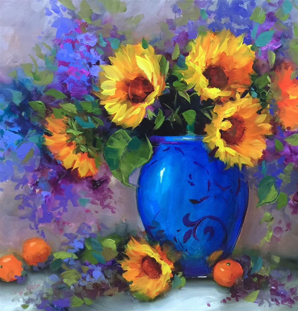 """Heart's Glow Sunflowers and Cuties - Nancy Medina Art Videos and Classes"" original fine art by Nancy Medina"