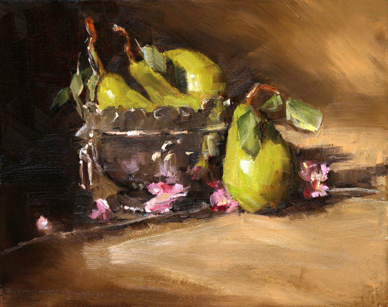 """pears in planter"" original fine art by Carol Carmichael"