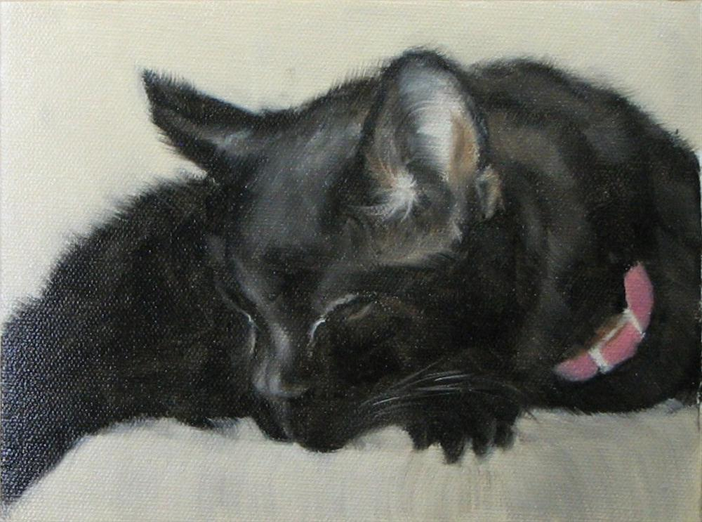 """Kitten Kaboodle in repose"" original fine art by Karen Rodgers"