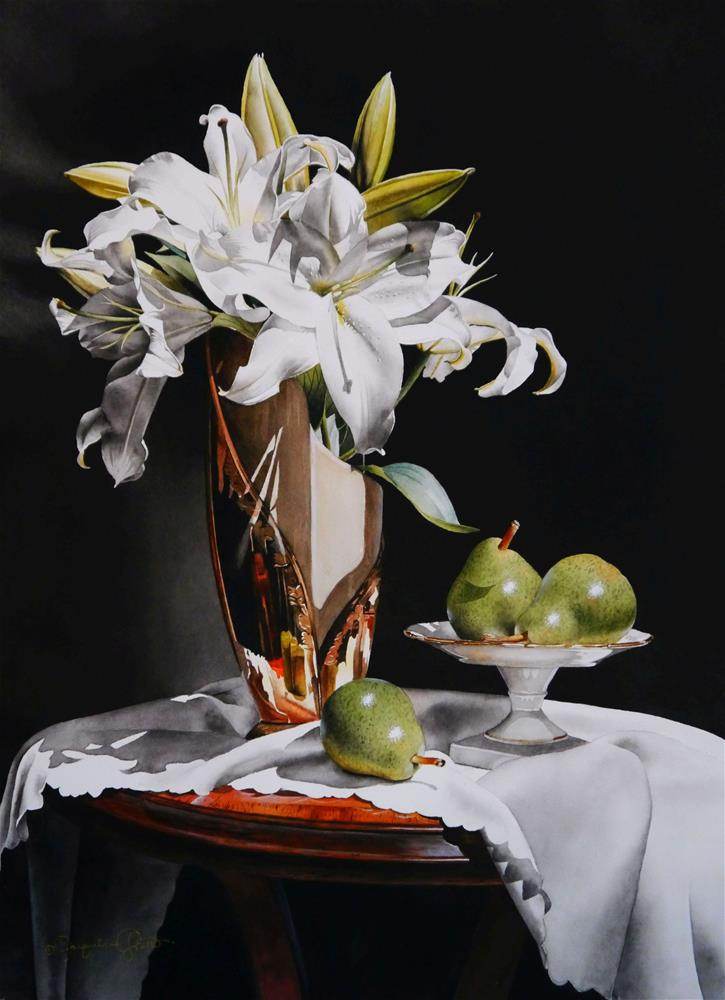 """Still Life with White Lilies & Pears"" original fine art by Jacqueline Gnott, TWSA, WHS"