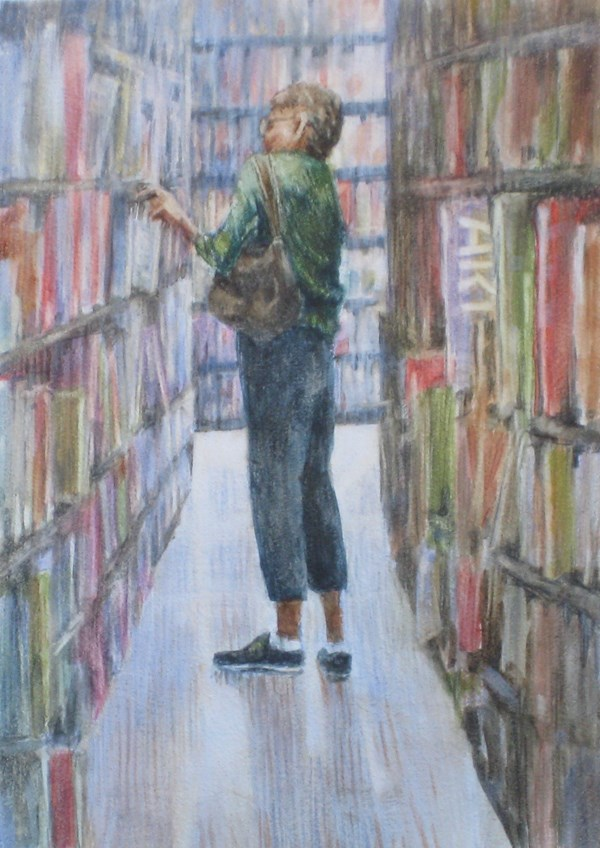 """The Library Patron"" original fine art by Ginger Pena"