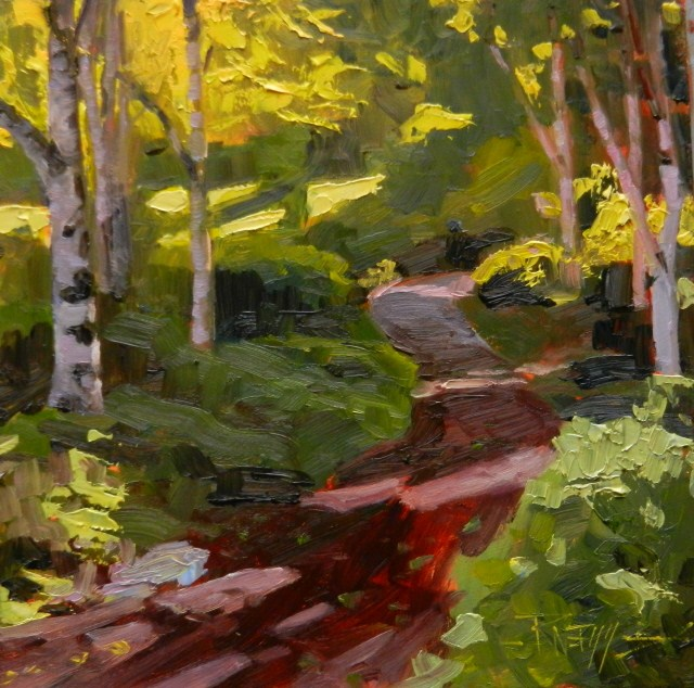 """The Birch Forest  plein air , oil , landscape painting by Robin Weiss"" original fine art by Robin Weiss"