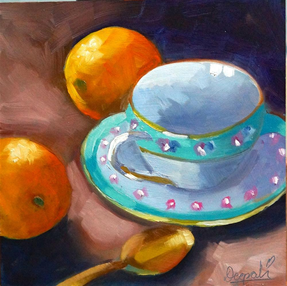 """Tea cup with oranges"" original fine art by Dipali Rabadiya"