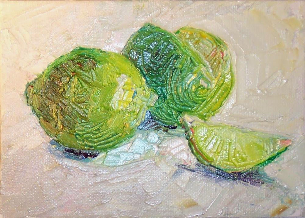 """Lime Light,still life,oil on canvas,5x7,priceNFS"" original fine art by Joy Olney"