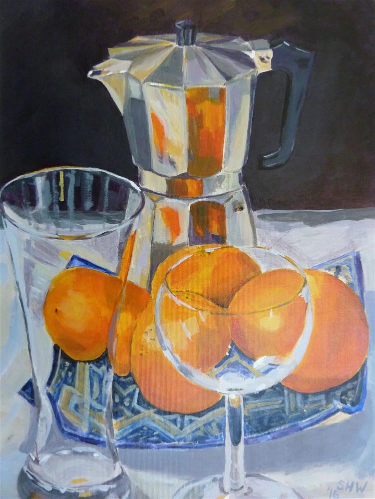 """Oranges, glasses and coffee pot"" original fine art by Sandra Williams"