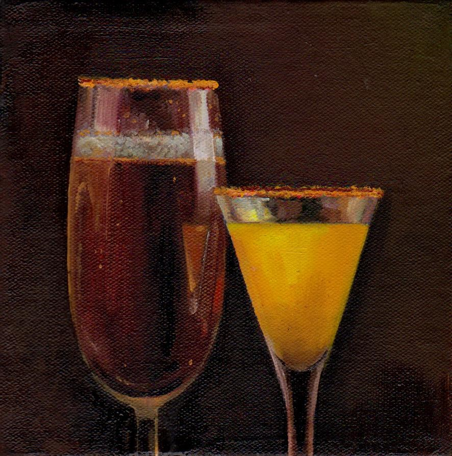 """a drinks"" original fine art by V. DeBak"