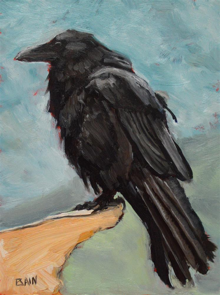 """Raven no. 2"" original fine art by Peter Bain"