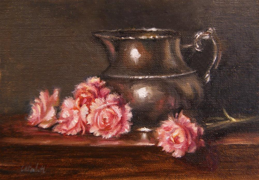 """Pink Carnations with Pewter Pitcher,  Oil on 5x7 Linen Panel"" original fine art by Carolina Elizabeth"
