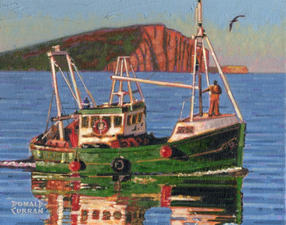 """Green Boat"" original fine art by Donald Curran"