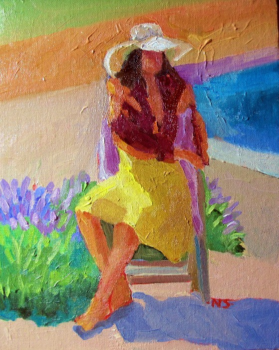 Girl with Lavender 12045 original fine art by Nancy Standlee