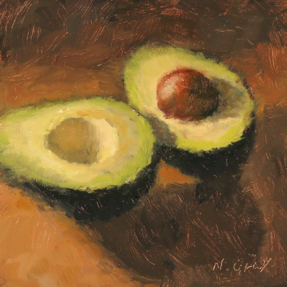 """Avocado in Half"" original fine art by Naomi Gray"