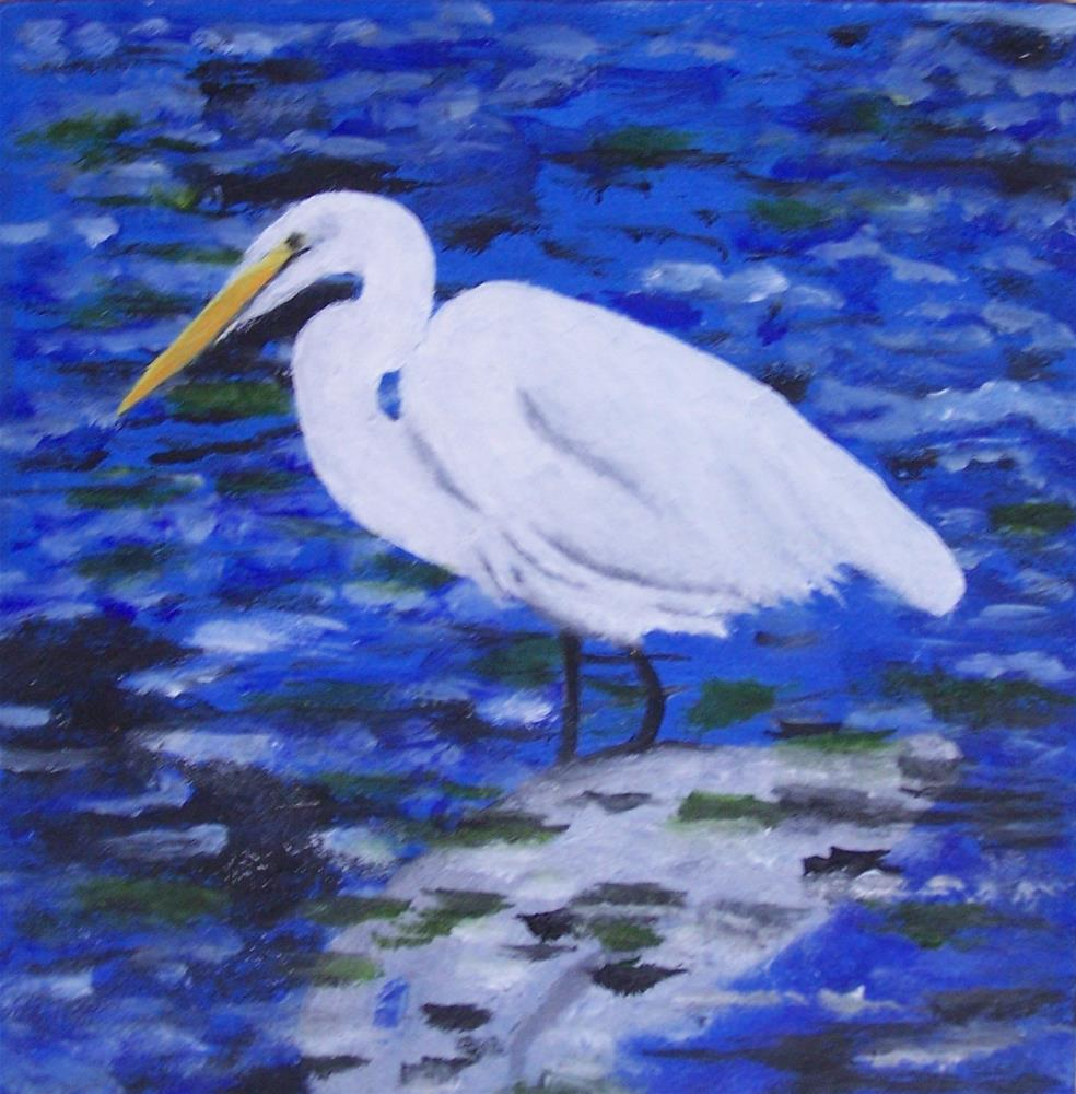 """Egret iin Blue water"" original fine art by John Marcum"