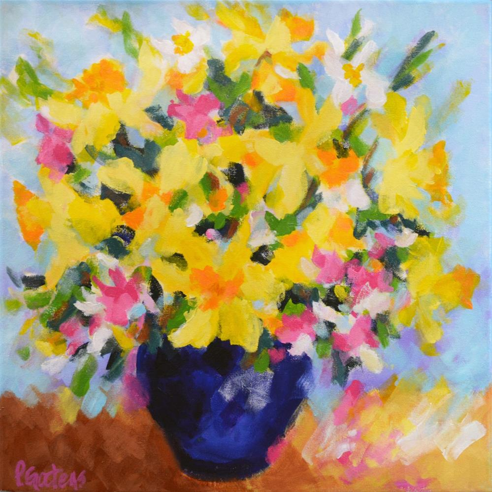 """Daffodils in Cobalt"" original fine art by Pamela Gatens"