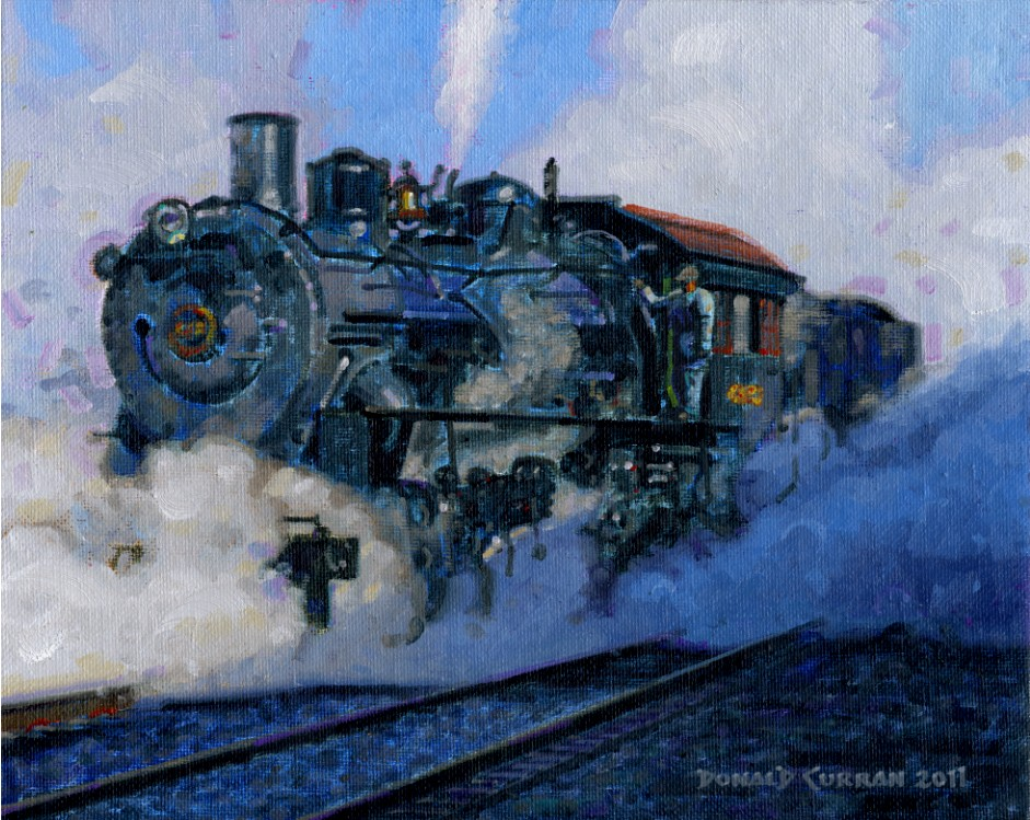 """Big Steam Locomotive"" original fine art by Donald Curran"