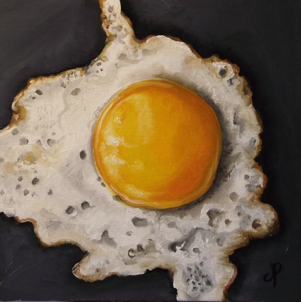 """Fried egg! & a little pear"" original fine art by Jane Palmer"