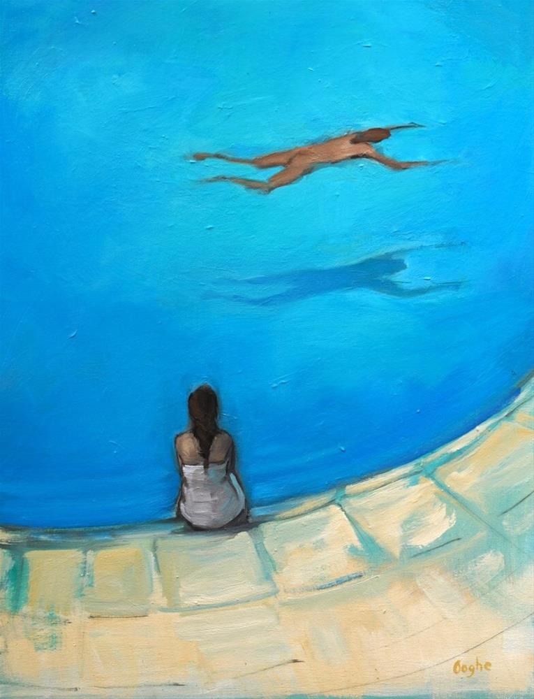 """Waiting by the Pool"" original fine art by Angela Ooghe"
