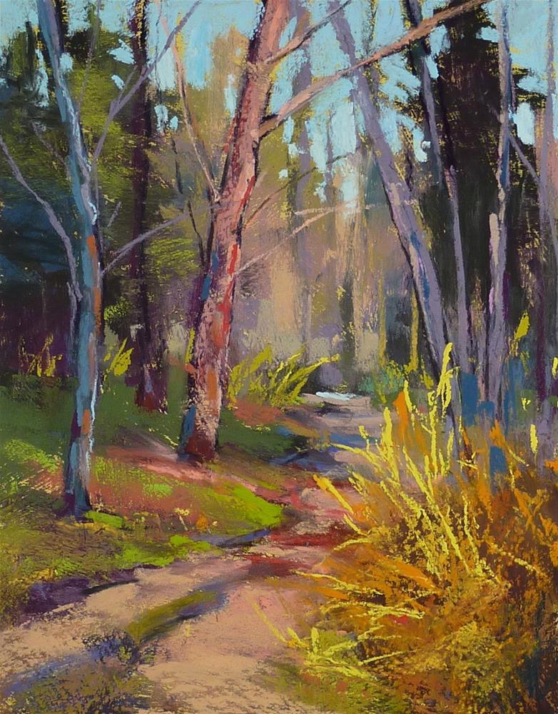 """Monday Pastel Demo....Spring Landscape on Textured Board"" original fine art by Karen Margulis"
