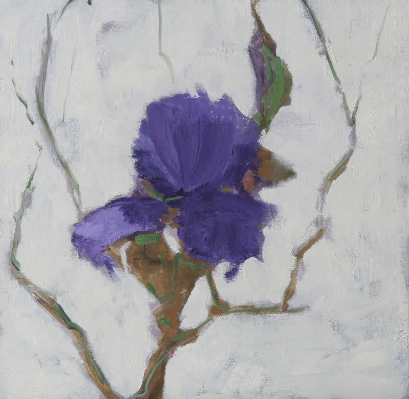 """Still Life Floral Painting, Flower Art Iris Blossom I by Colorado Artist Susan Fowler"" original fine art by Susan Fowler"