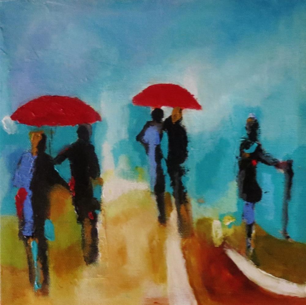 """""""Red umbrellas"""" original fine art by Astrid Buchhammer"""