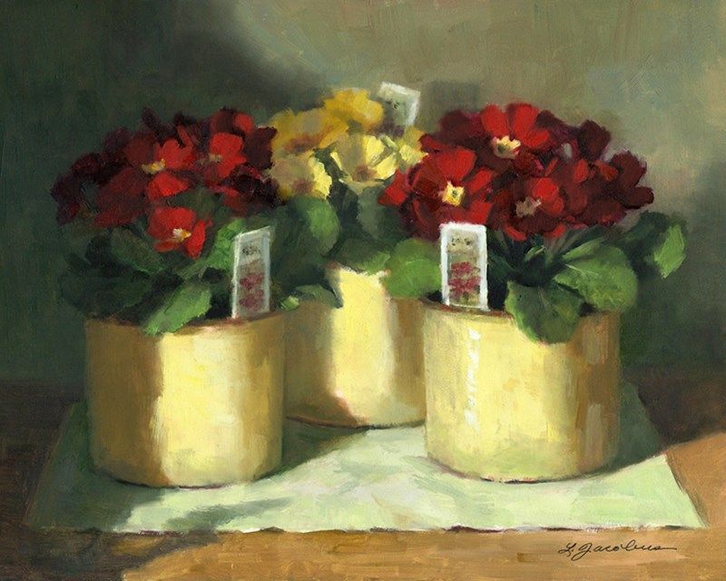 """Primroses"" original fine art by Linda Jacobus"