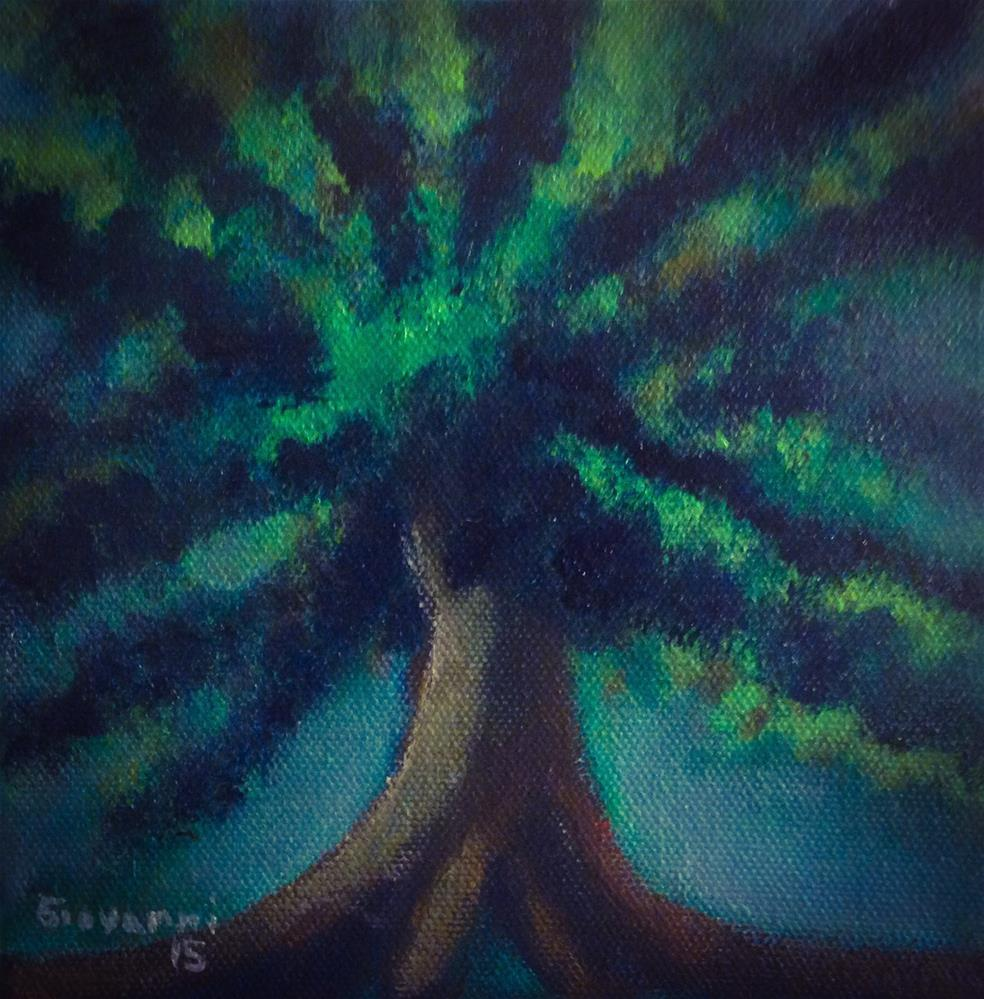 """Green tree"" original fine art by Giovanni Antunez"