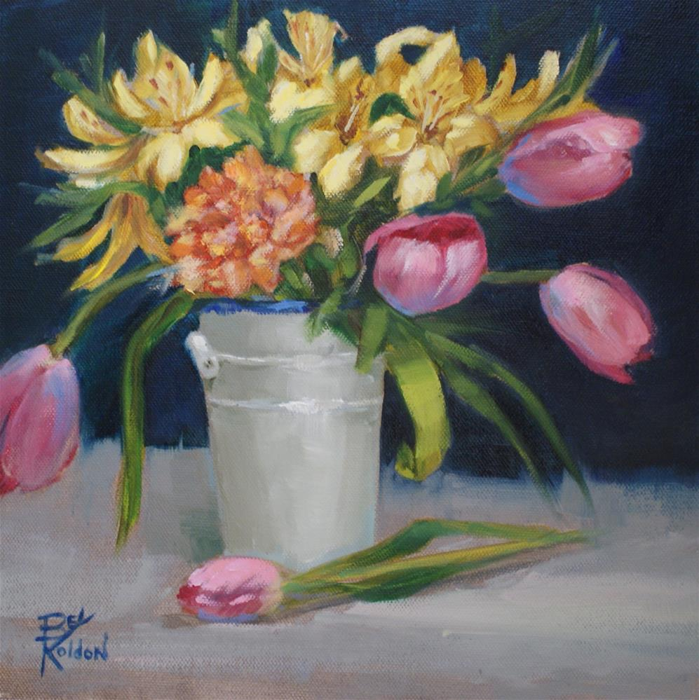 """Tulips in a White Can"" original fine art by Beverly Koldon"