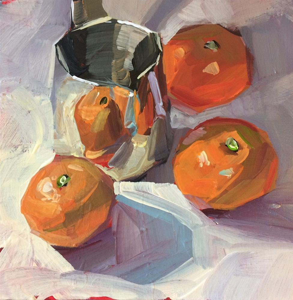 """Peek-a-boo Oranges"" original fine art by Teddi Parker"