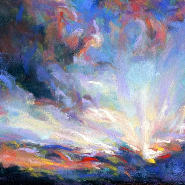 """SHOOTING RAYS - 4 1/2 x 4 1/2 pastel by Susan Roden"" original fine art by Susan Roden"