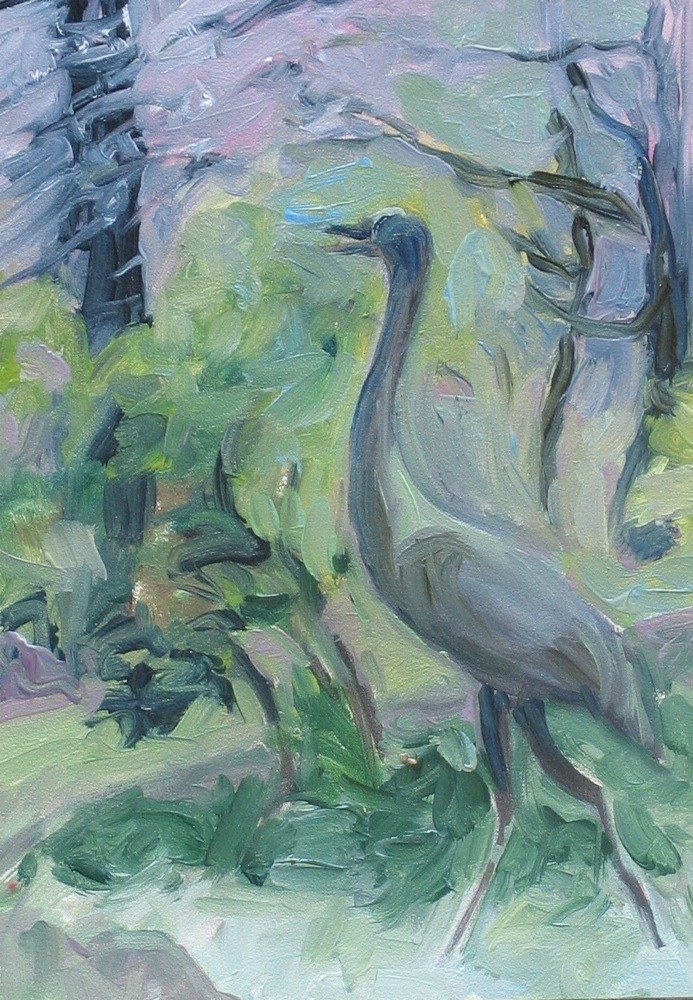 """Long Hill Crane"" original fine art by Lynne Schulte"