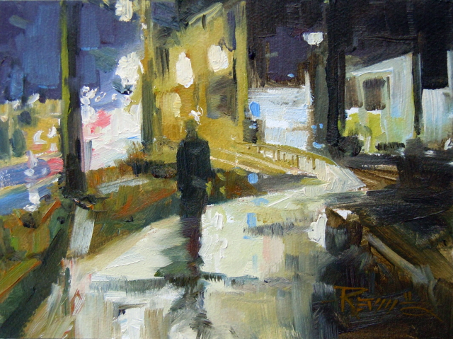 """""""Passing Under the Viaduct Alaska Way Viaduct, oil painting by Robin Weiss"""" original fine art by Robin Weiss"""