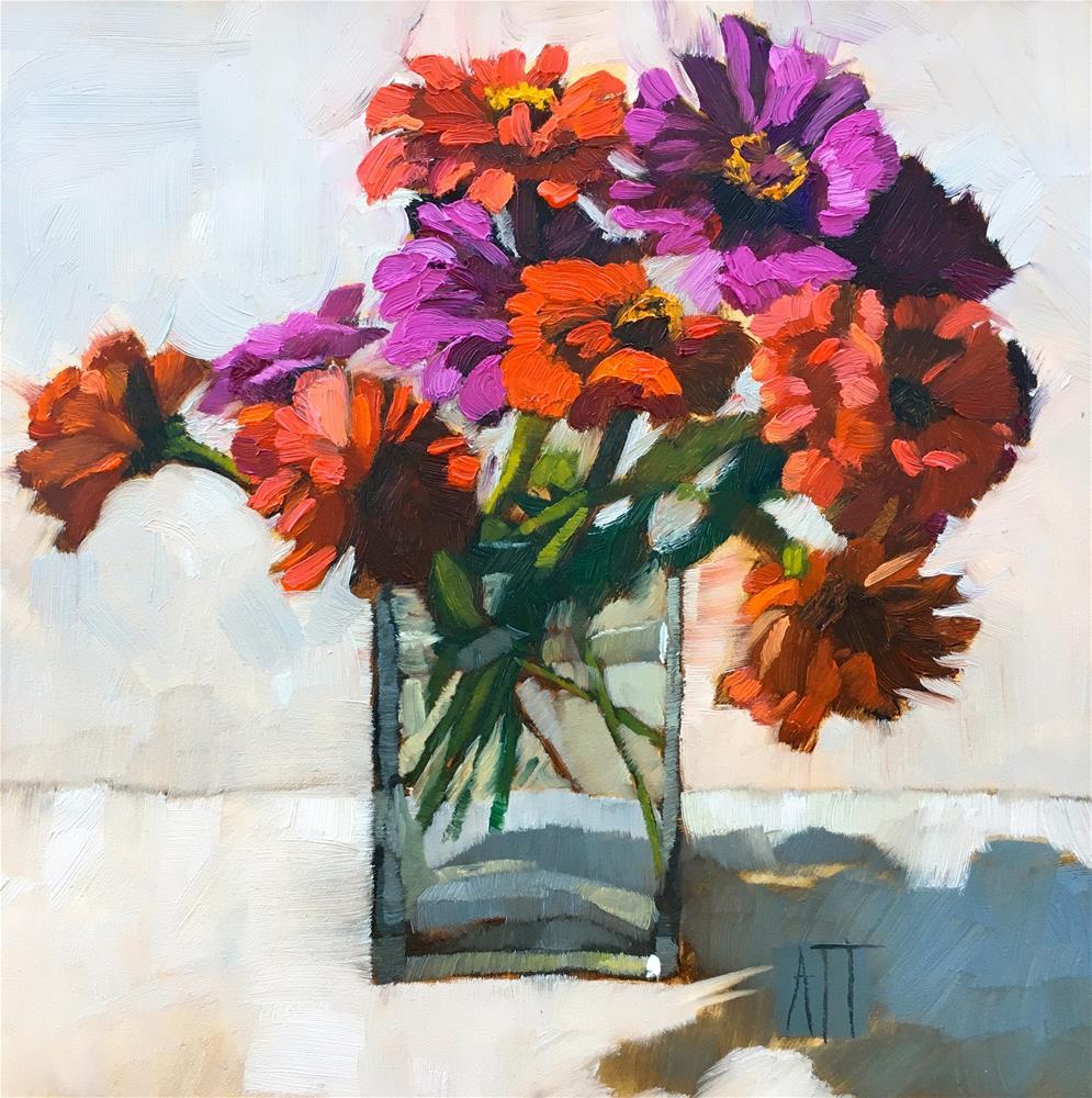 """last of the zinnias"" original fine art by Amy Irwin Tank"