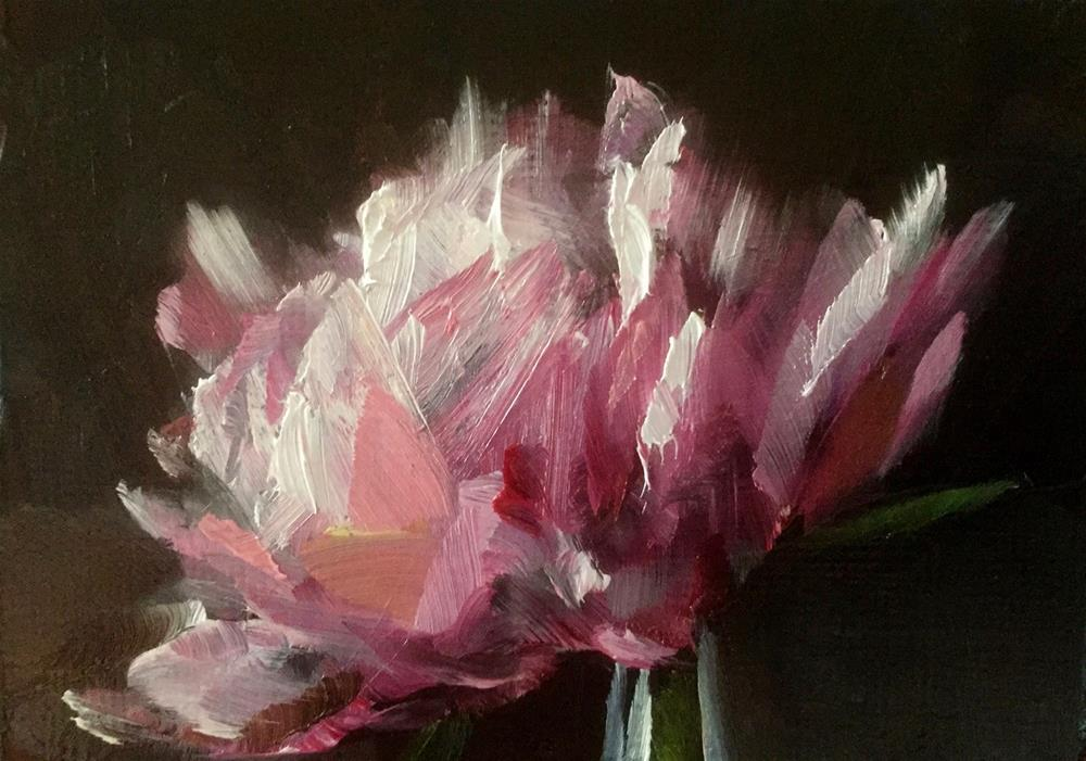 """Peony ACEO Study"" original fine art by Gary Bruton"