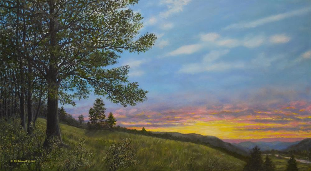 """High Meadow Sundown (C) 2016 by K. McDermott"" original fine art by Kathleen McDermott"