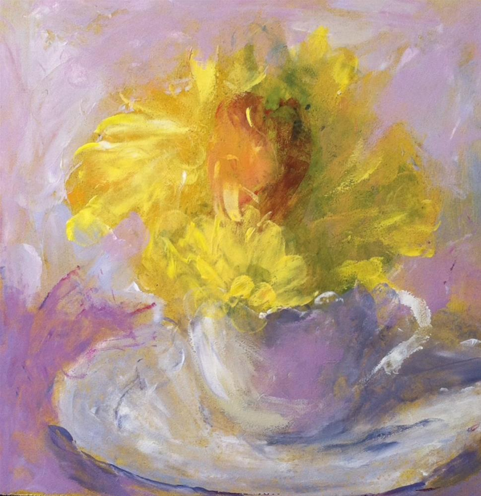 """Yellow Daisies/Rose"" original fine art by Katharine March"
