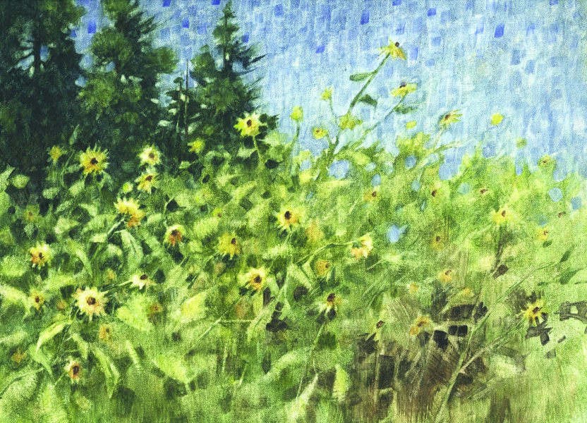 """Sunflower Wall"" original fine art by Ginger Pena"