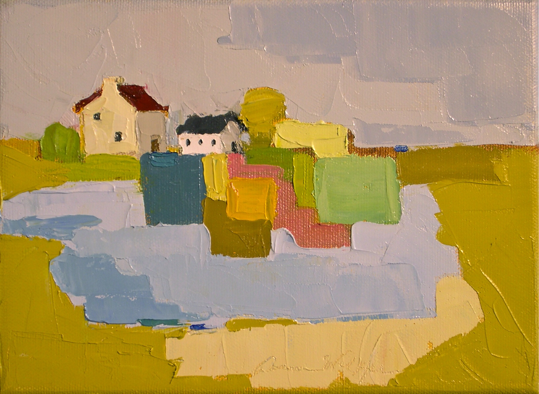 """Patchwork Farm in Ochre"" original fine art by Donna Walker"