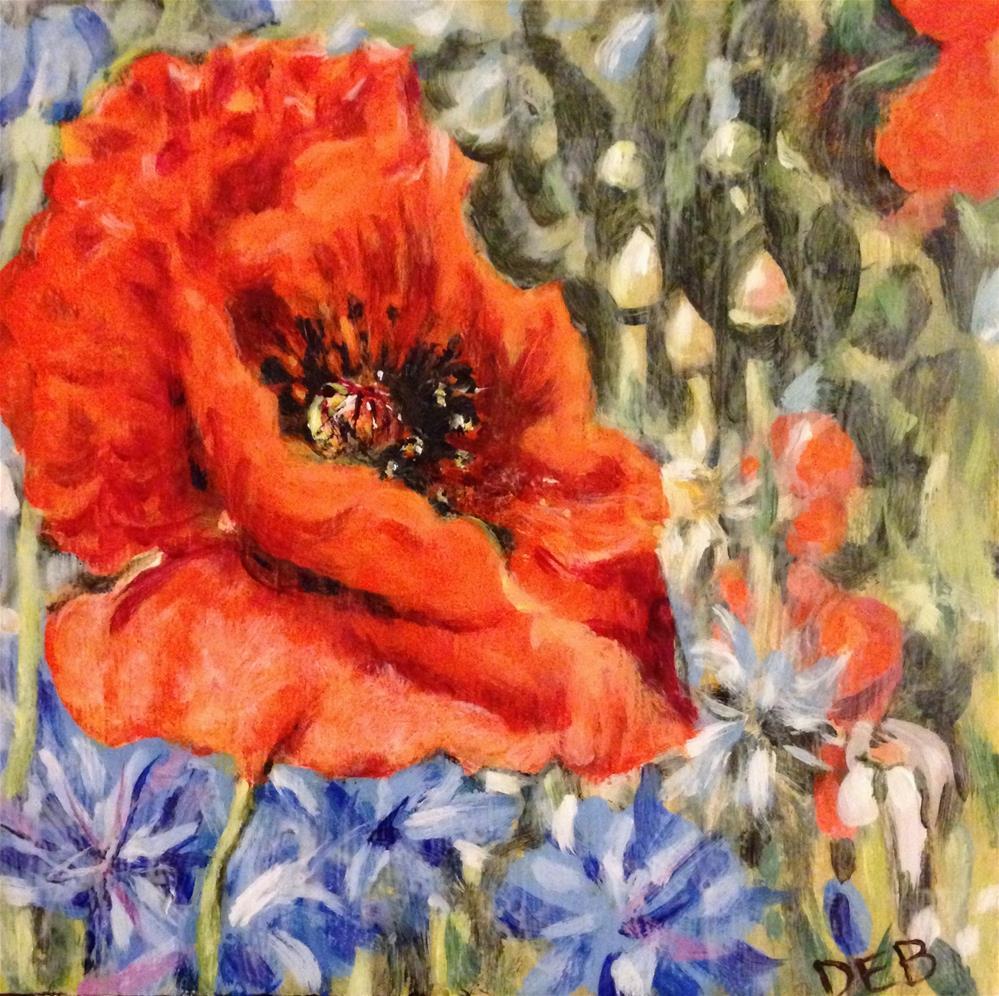 """Poppy at Williamsburg Nursery"" original fine art by Debbie Yacenda"