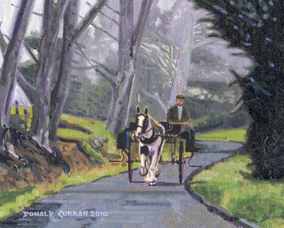 """Misty Irish Forest"" original fine art by Donald Curran"