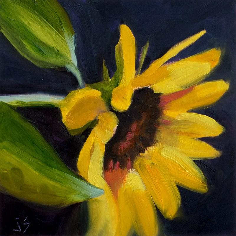 """Last Sunflower"" original fine art by Johnna Schelling"