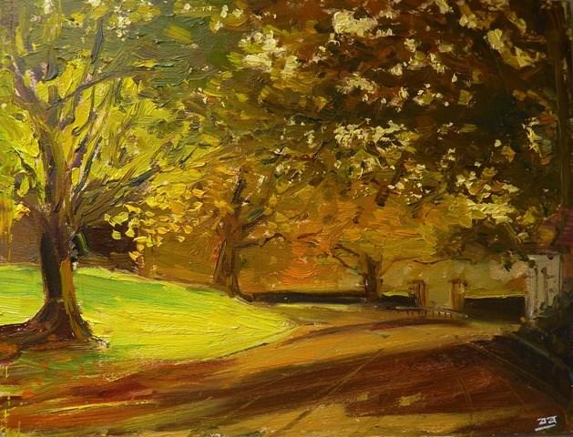 """Autumn Effect Alexander Park, Bath"" original fine art by Adebanji Alade"