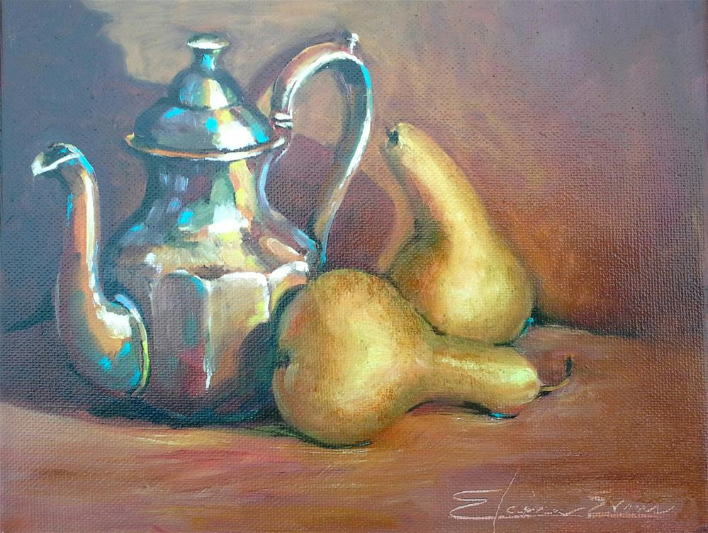 """Pears N Tea (2)"" original fine art by Elaine Evans"