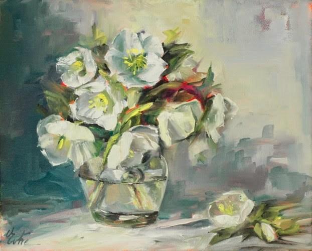 """""""Des roses de Noël pour Pâques"""" original fine art by Evelyne Heimburger Evhe"""