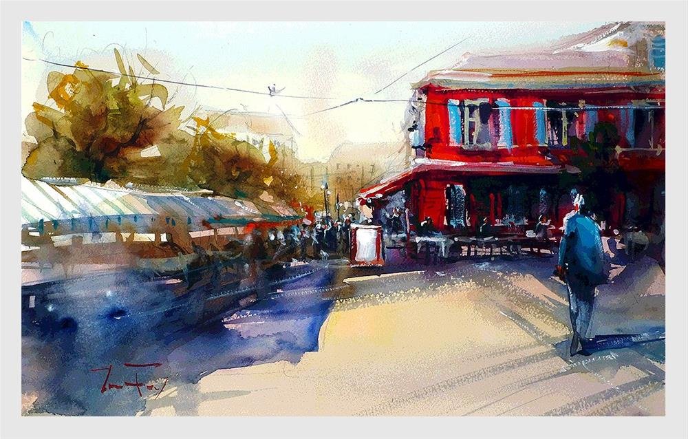 """Nizza, Blumenmarkt"" original fine art by Jurij Frey"