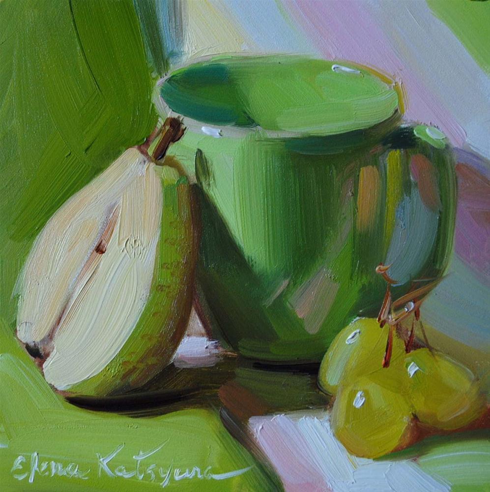 """""""Still life in Green"""" original fine art by Elena Katsyura"""