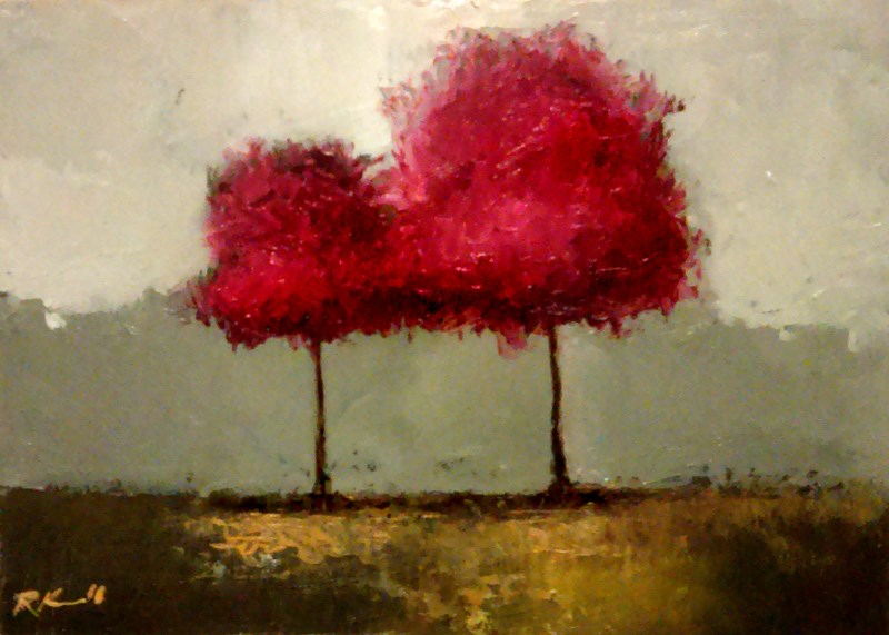 """Two Red Trees"" original fine art by Bob Kimball"