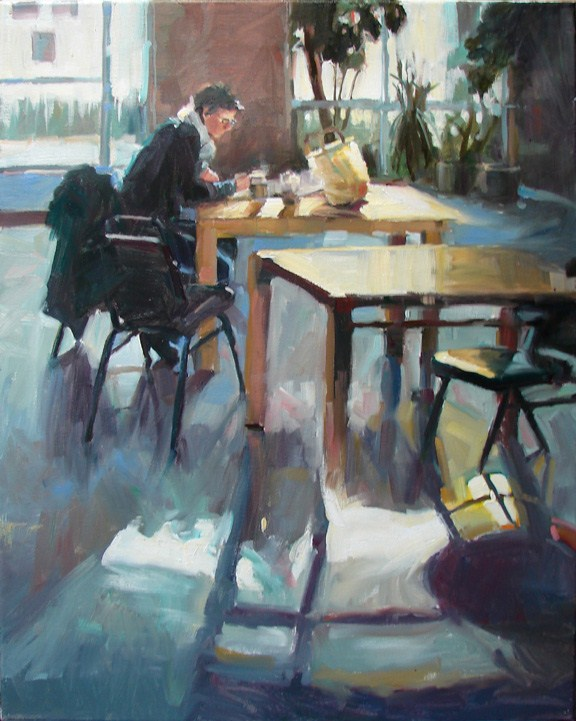 """Working Lunch"" original fine art by Robin Cheers"