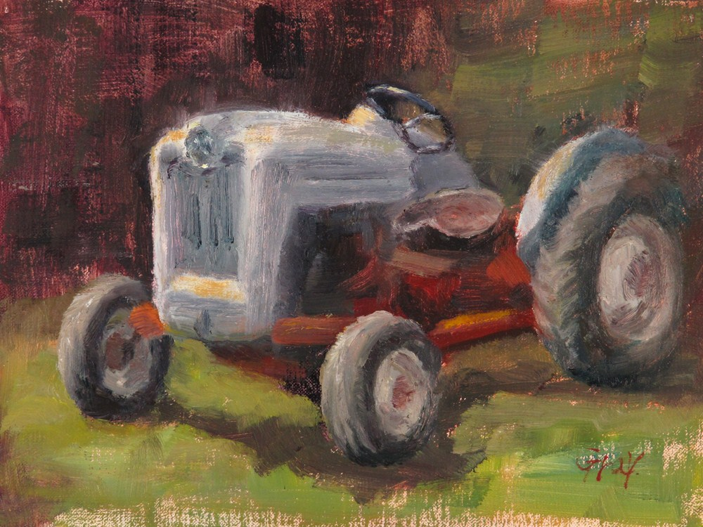 """White Tractor"" original fine art by Naomi Gray"
