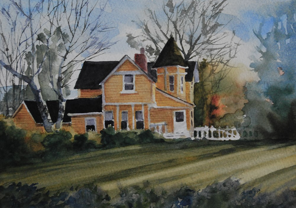 """Yellow House"" original fine art by Mary Anderson"